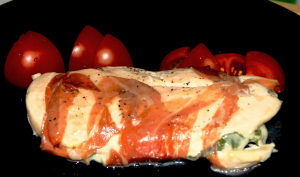 Chicken, Prosciutto, Mozzarella, Basil and….Albariño